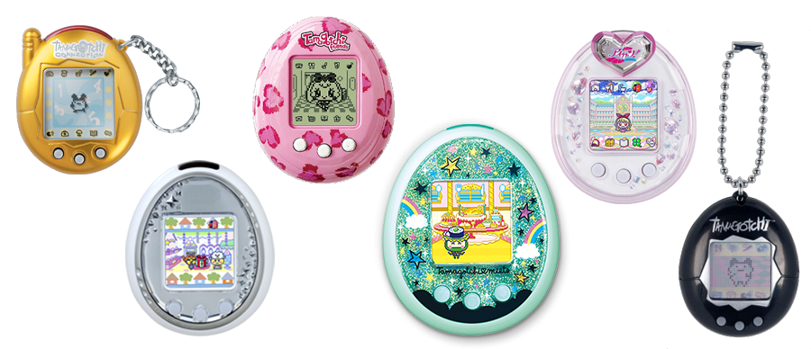Tamagotchi devices, retro and modern